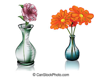 two vases with flowers - two glass vases with flowers 10 EPS...