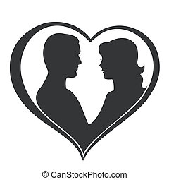 Man and Woman Silhouette in Heart Shape