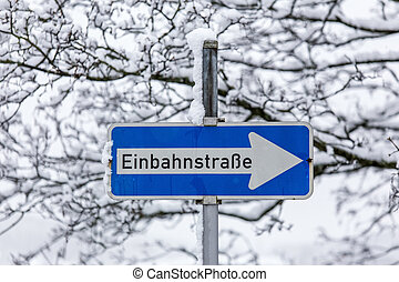 german one-way street sign