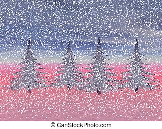 winter landscape in northwest - christmas and firetrees