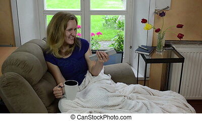 cheerful girl tv show - laughing girl watch tv television...