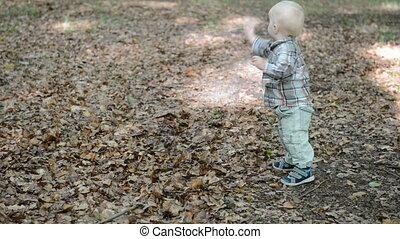 First steps of a little boy