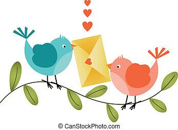 bájos, boríték, madarak