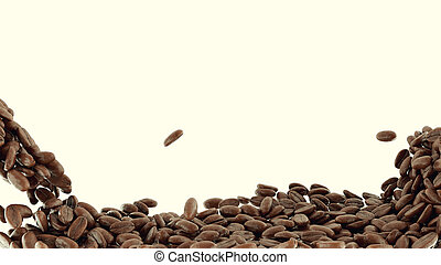 Mixing and falling coffee beans isolated