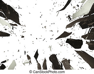 Shattered or demolished glass over white background. Large...