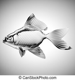 Silver fish with fins and scales on gradient gray - Silver...