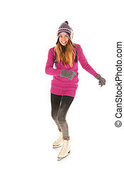 Attractive woman skating on ice