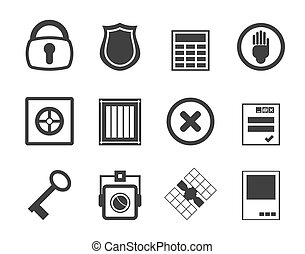 Simple Security and Business icons - Silhouette Simple...