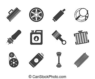 Realistic Car Parts icons - Silhouette Realistic Car Parts...