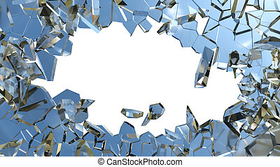 Blue smashed glass pieces isolated on white - Blue smashed...