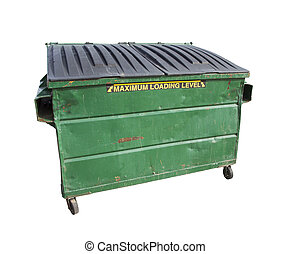 Green Trash or Recycle Dumpster On White with Clipping Path...