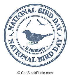National bird day stamp - National bird day grunge rubber...