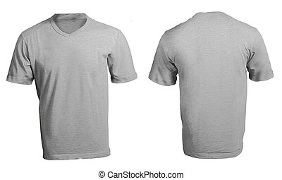 Men's Blank Grey V-Neck Shirt Template - Men's Blank Grey...