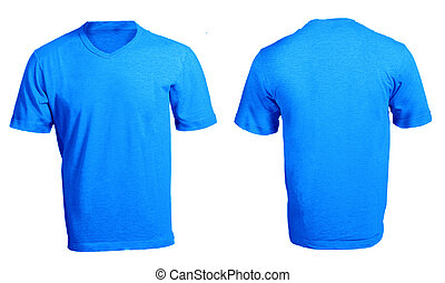 Mens Blank Blue V-Neck Shirt Template - Mens Blank Blue...