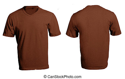 Men's Blank Brown V-Neck Shirt Template - Men's Blank Bown...