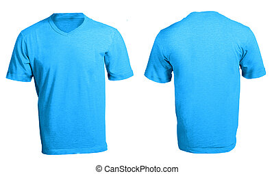 Men's Blank Blue V-Neck Shirt Template - Men's Blank Blue...