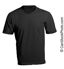 Men's Blank Black V-Neck Shirt Template - Men's Blank Black...
