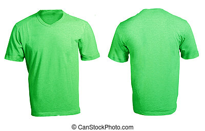 Men's Blank Green V-Neck Shirt Template - Men's Blank Green...