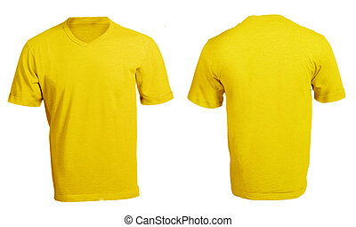 Men's Blank Yellow V-Neck Shirt Template - Men's Blank...