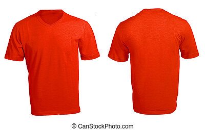 Men's Blank Red V-Neck Shirt Template - Men's Blank Red...