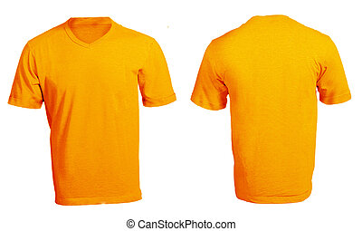 Men's Blank Orange V-Neck Shirt Template - Men's Blank...