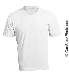 Men's Blank White V-Neck Shirt Template - Men's Blank White...