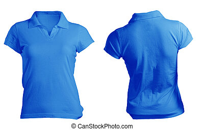 Women's Blank Blue Polo Shirt Template - Women's Blank Blue...