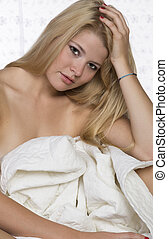 Sexy Blond Model Isolated On white - Sexy blond model...