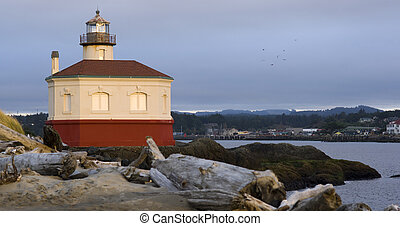Coquille River Lighthouse Beach Driftwood Marina Town...