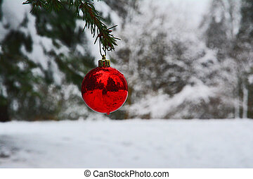 lonely red christmas bulb
