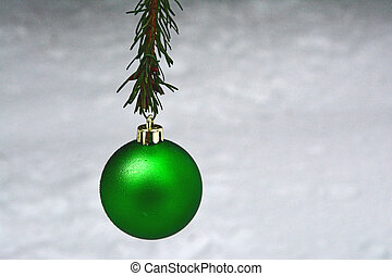 a lonely green christmas ornament - a single,green Christmas...