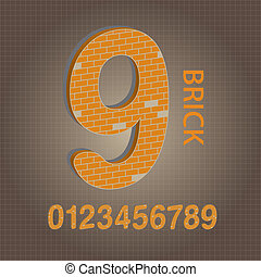 Orange Brick Numbers Vector