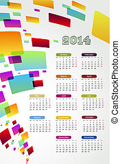2014 Calender - abstract background 2014 calender on a white...