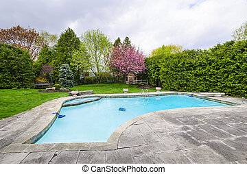 Swimming pool in backyard