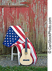 norteamericano, bandera, guitarra