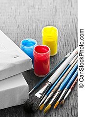 Paintbrushes with canvas