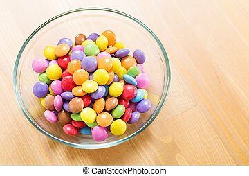 Chocolate candy in bowl