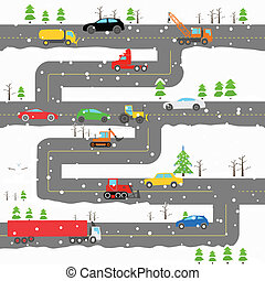 Winter road with cars illustration