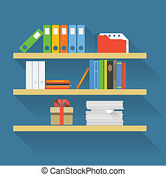 Different objects on book shelves Flat design elements