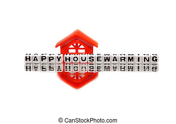 Housewarming message with red home.