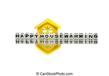 Housewarming message with yellow home.