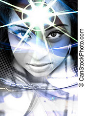 Third Eye - An abstract montage of a beautiful woman with a...