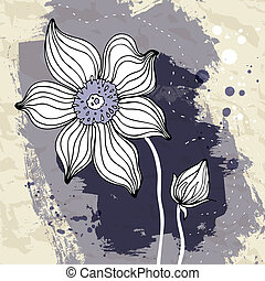 Snowdrop flower on Crumpled paper background. - Snowdrop...