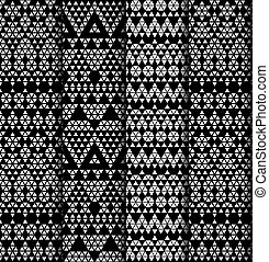 Set of four patterns. - Tribal monochrome lace patterns....