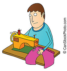 man using sewing machine