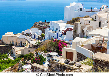 View of Fira town - Santorini island,Crete,Greece White...