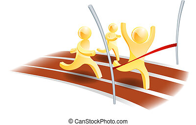 Winning race concept, three people racing on a track with...