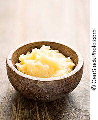 indian ghee - close up of a bowl of indian ghee