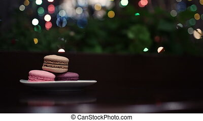 Taking a picture of macaroons.