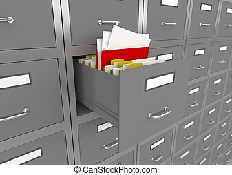 File cabinet with an open drawer. - 3d illustration of...